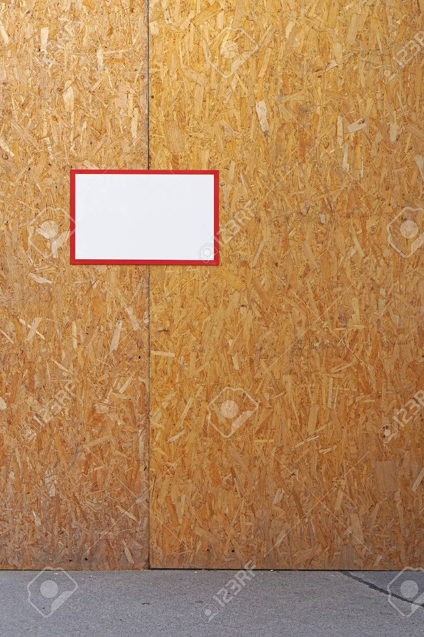 particle board temporary wall at site stock photo