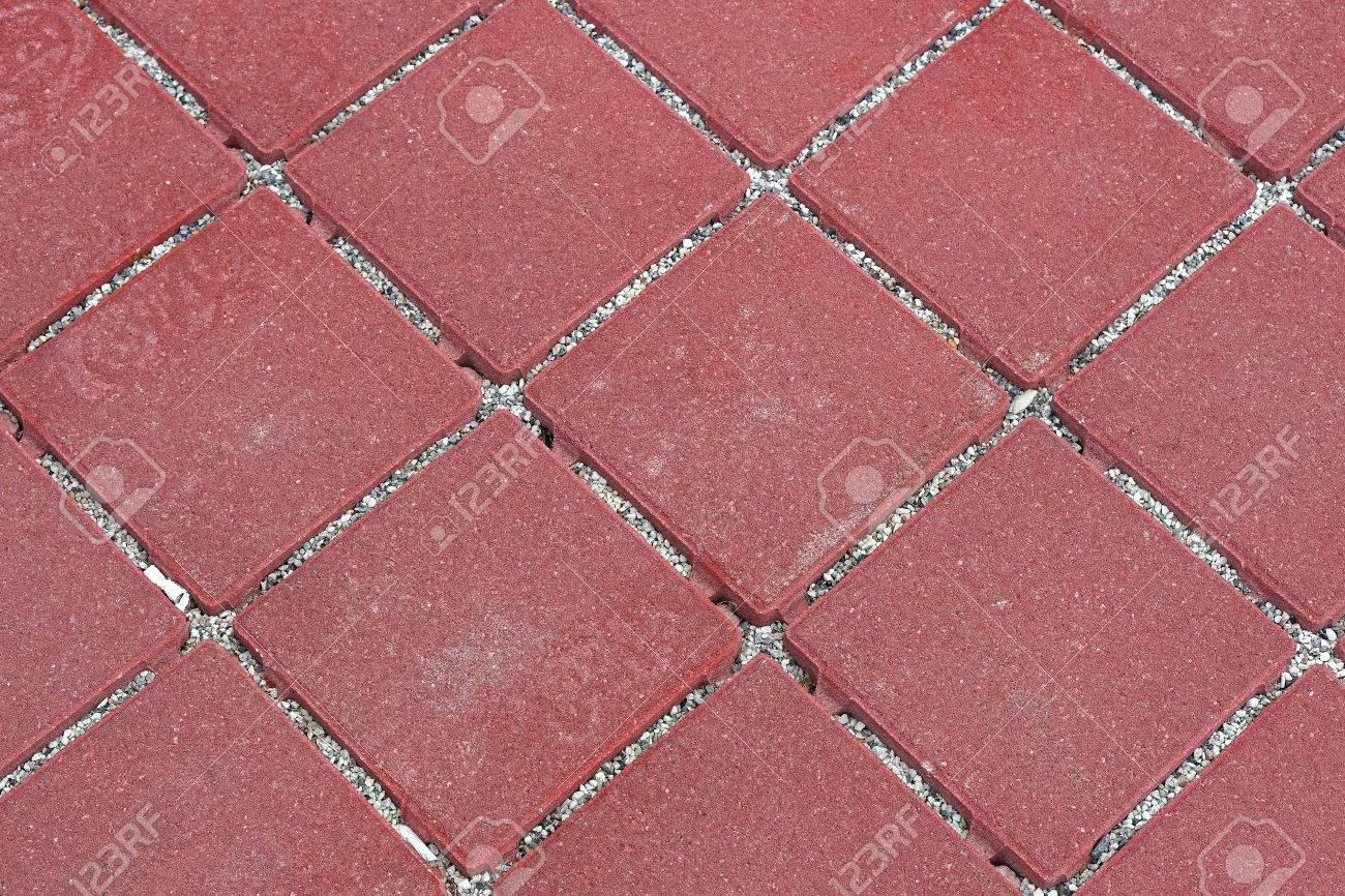 Red Mosaic Stone Outdoor Patio Floor Tiles Stock Photo   66167617