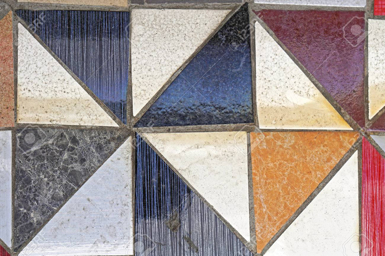 Grunge Floor Tiles Made From Triangular Pieces Stock Photo, Picture ...