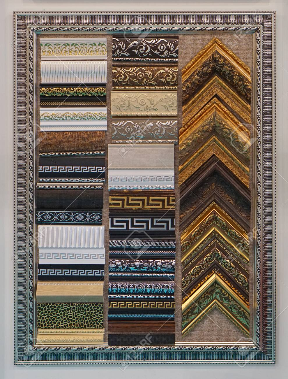 Picture Frames And Corners Samples Art Craft Material Stock Photo