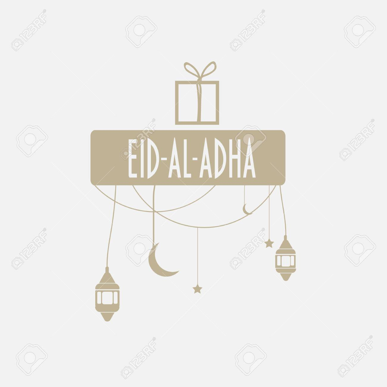 Muslim community festival eid al adha mubarak greeting card stock muslim community festival eid al adha mubarak greeting card with ramadan lanterns moon and stars m4hsunfo