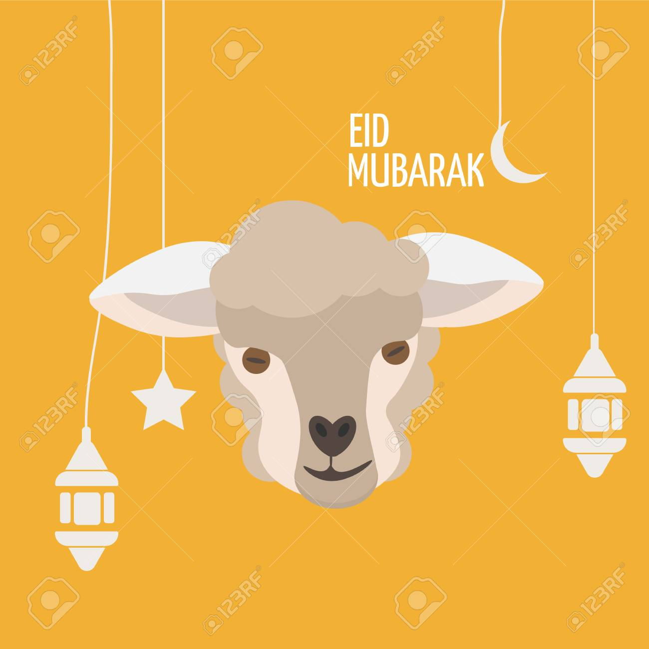 Eid Mubarak Greeting Card With Sheep Face Or Lamb Head, Ramadan ...