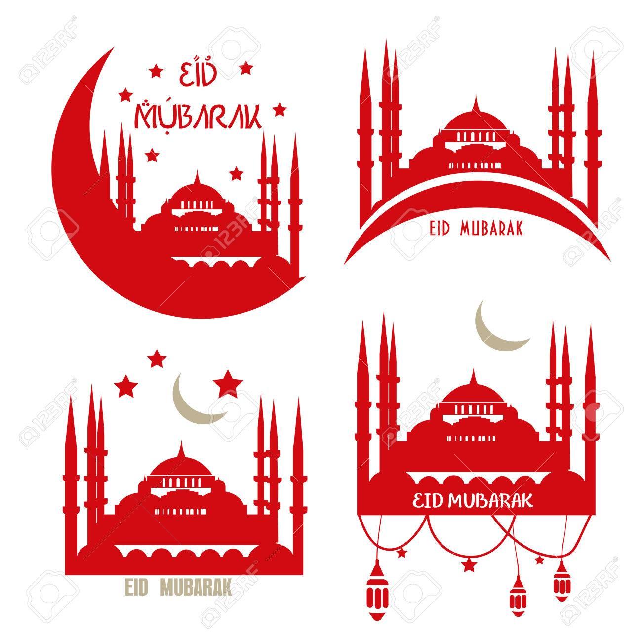 Set of muslim community vector greetings cards eid al adha stock set of muslim community vector greetings cards eid al adha eid ul m4hsunfo