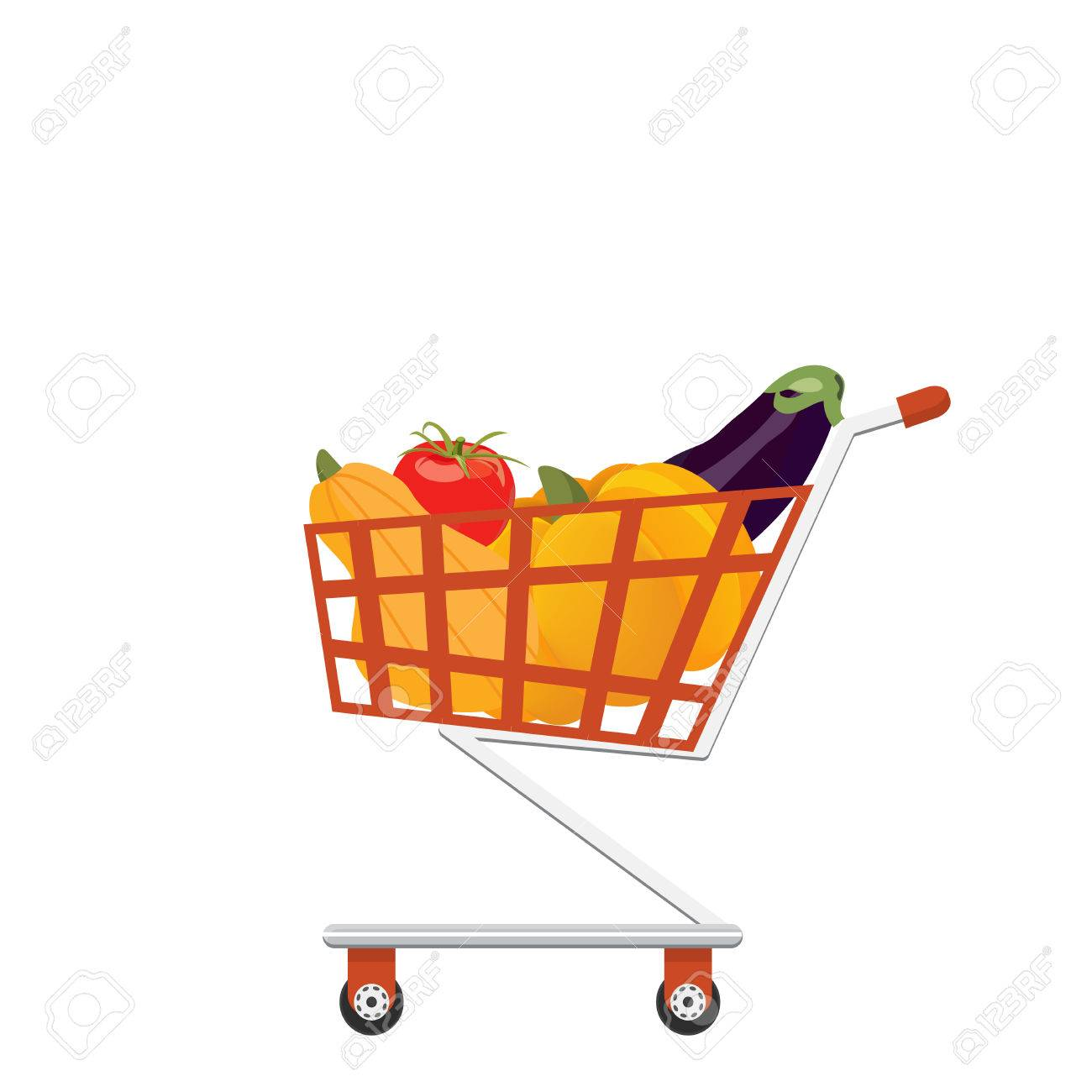Supermarket Full Shopping Trolley Cart With Fresh Grocery Products Stock Photo Picture And Royalty Free Image Image 79906739
