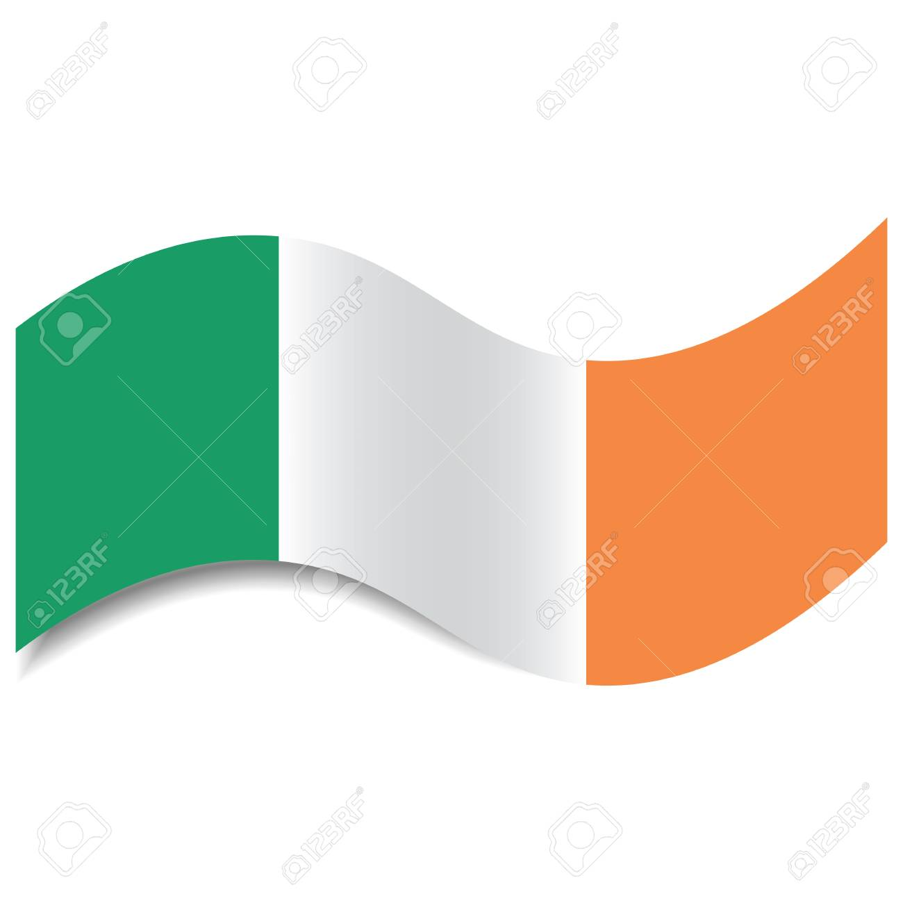 waving ireland flag or irish tricolour with a shadow made in stock