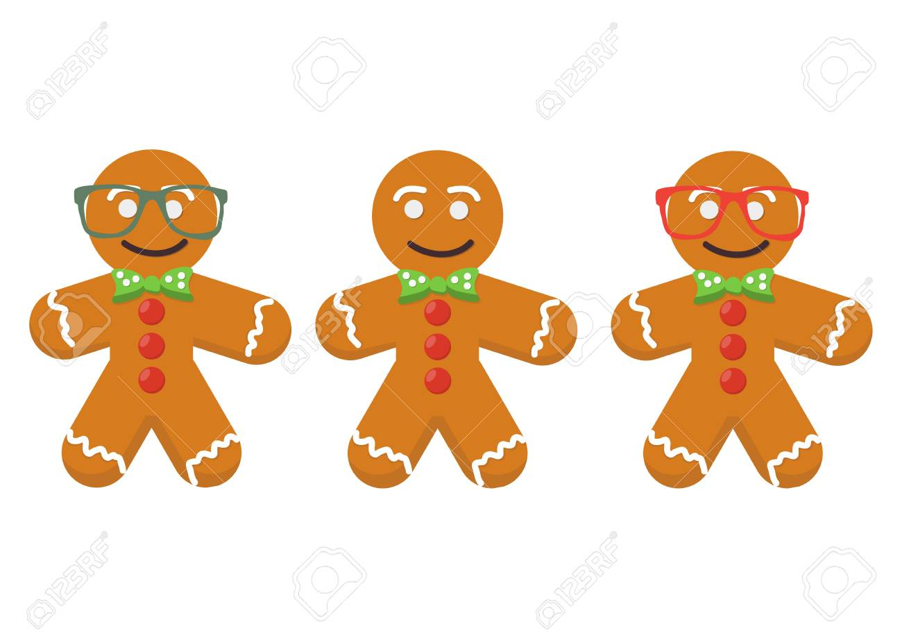 Vector Set In A Cartoon Style: Three Cute Gingerbread Men Isolated... Stock  Photo, Picture And Royalty Free Image. Image 86247288.