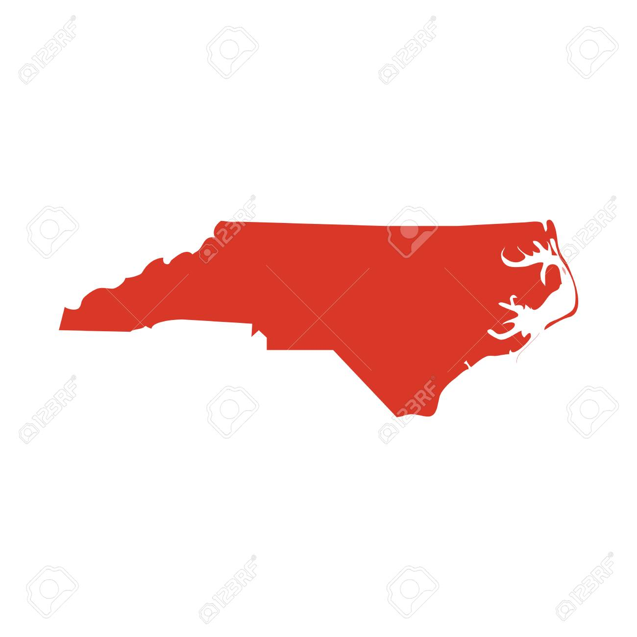 State of North Carolina vector red map silhouette. NC state shape icon. Outline contour map of North Carolina. - 101156700