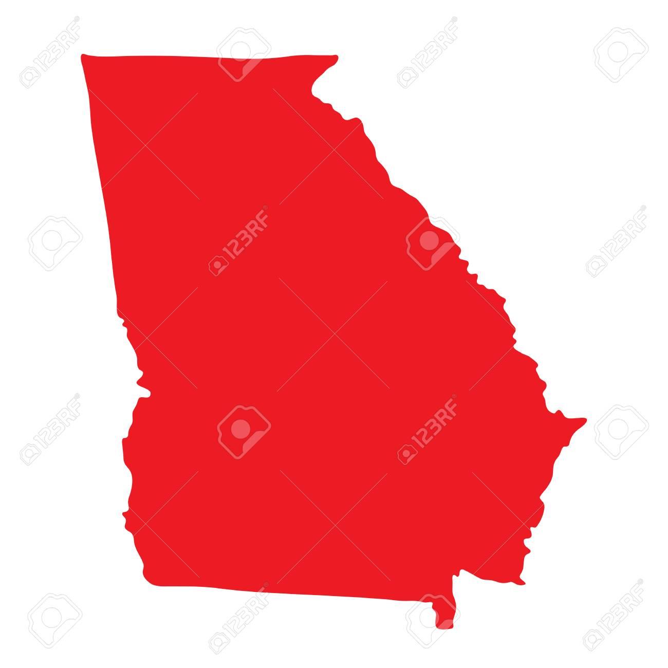 Georgia Vector Map Shape Icon. State Of Georgia Map Contour Outline ...
