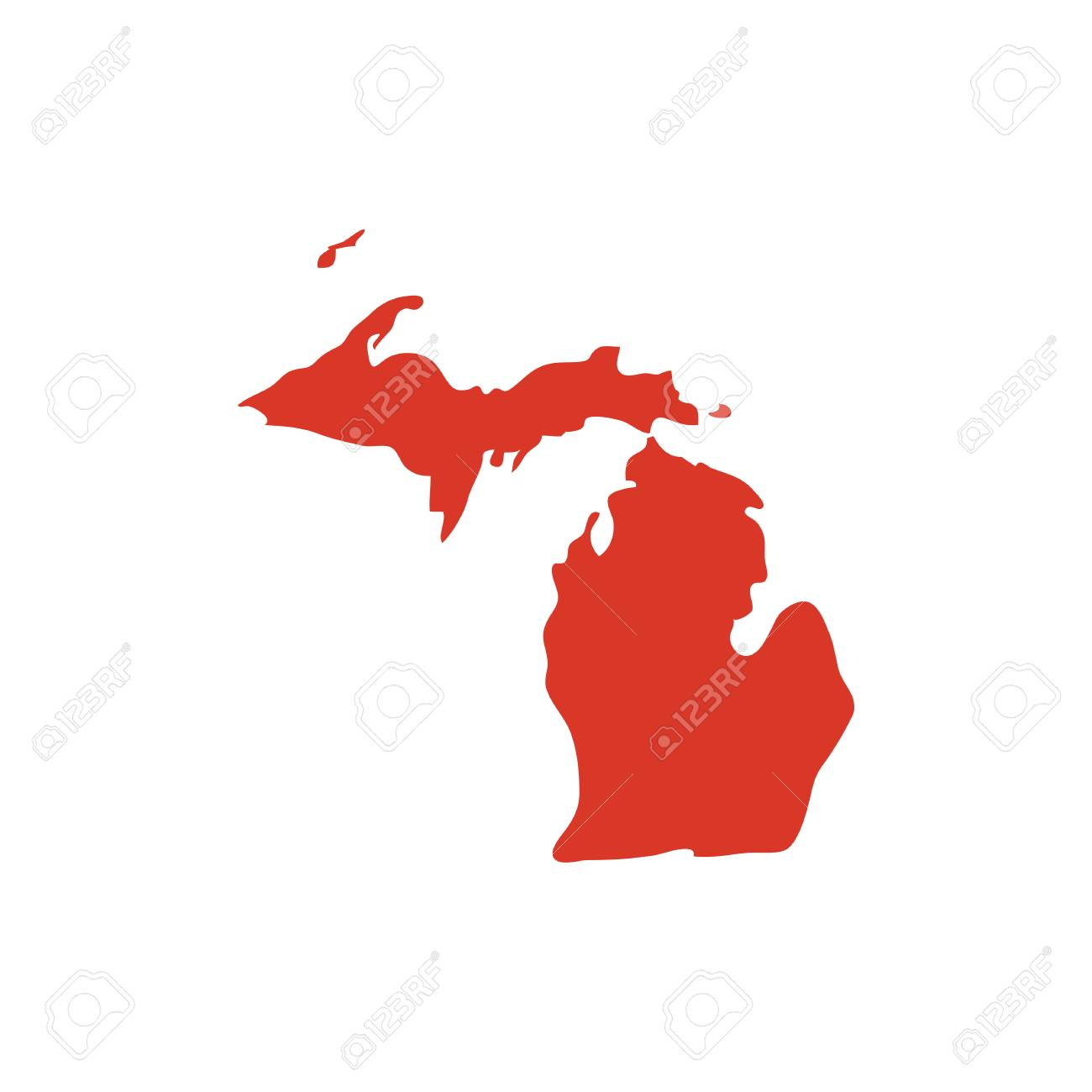 State of Michigan vector red map silhouette. MI state shape icon...