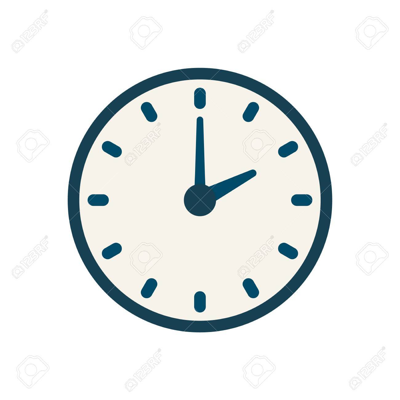 blue flat vector clock icon flat linear time sign royalty free