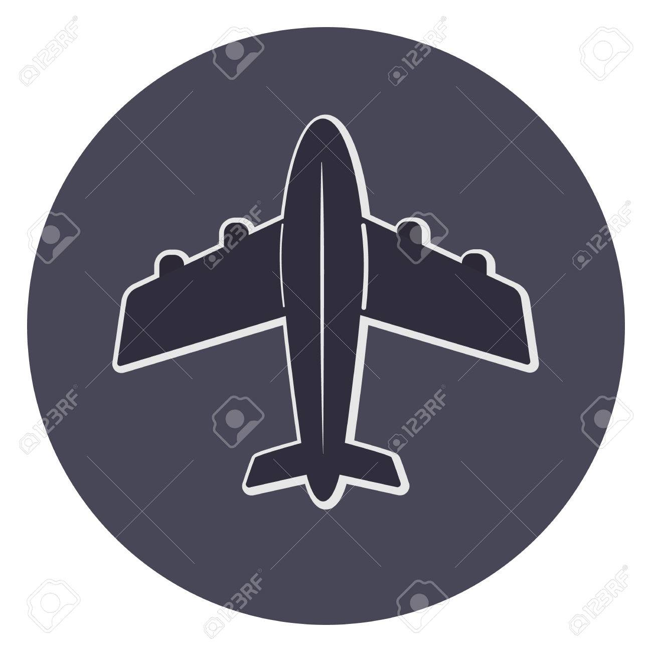 Dark Vector Plane Icon Top View With White Outline Cute Airplane