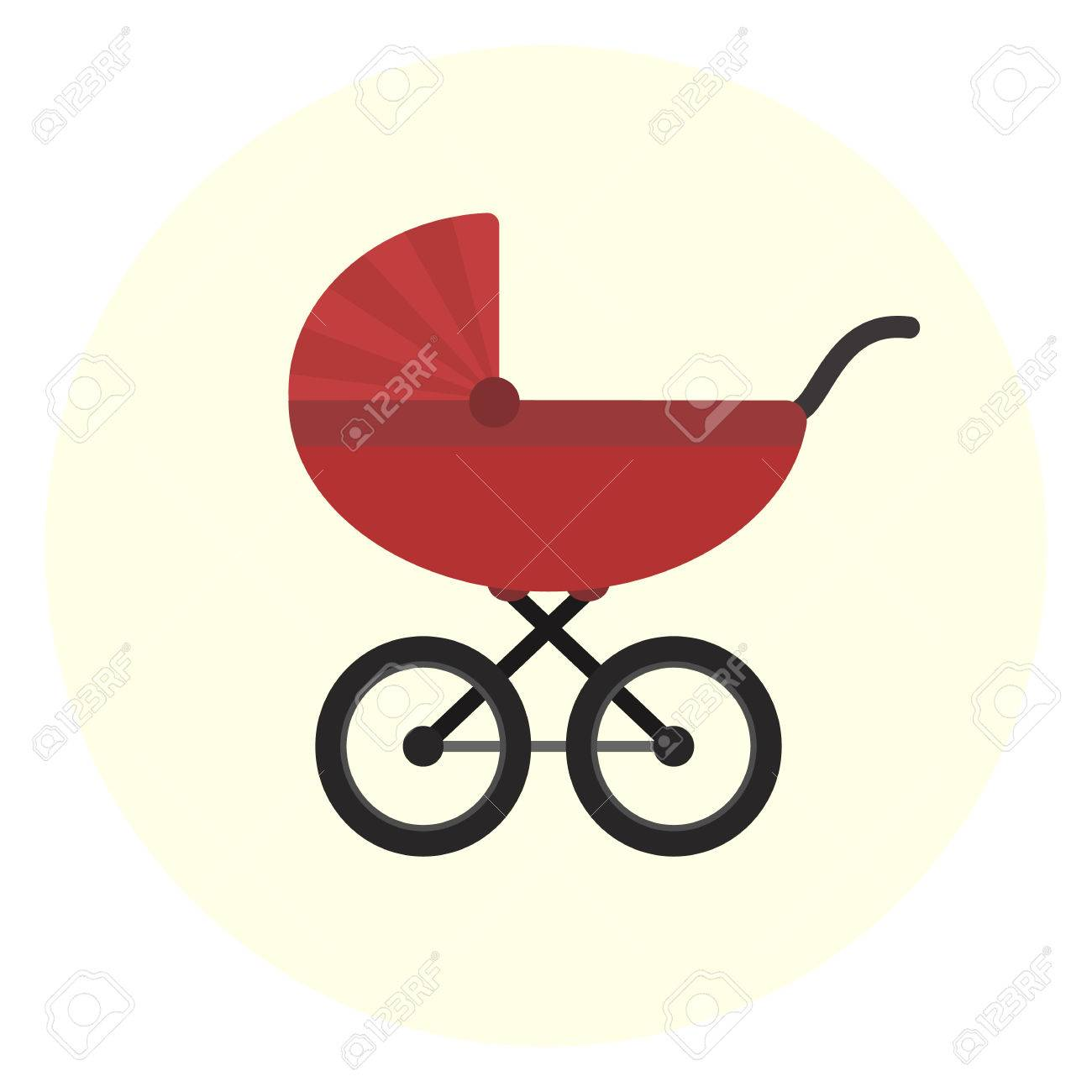 Girl and boy symbol images symbol and sign ideas flat red vector baby carriage icon unisex baby transport cute boy pram symbol flat red vector buycottarizona Gallery