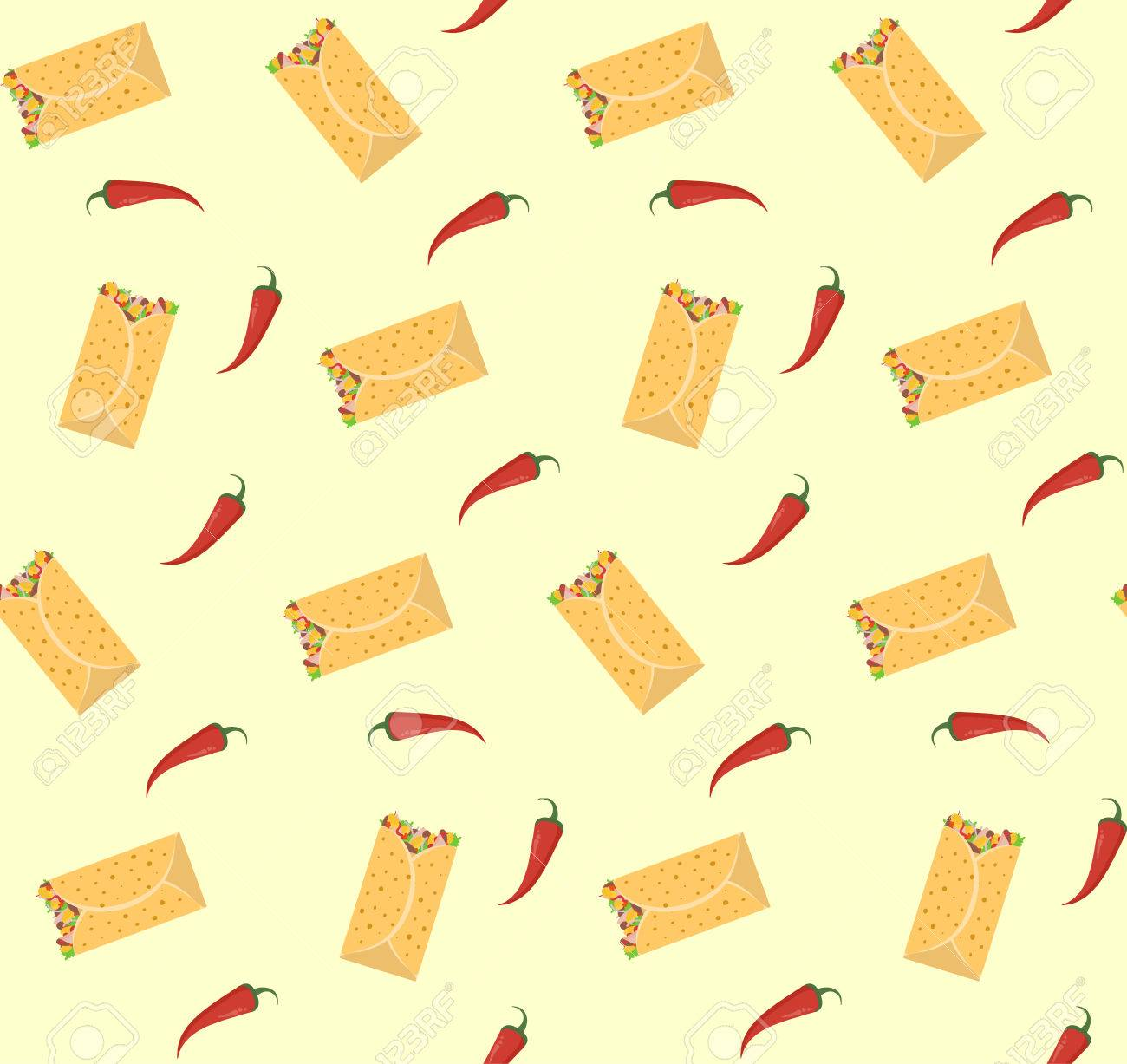 Cute Colorful Burrito And Red Chili Pepper Seamless Pattern