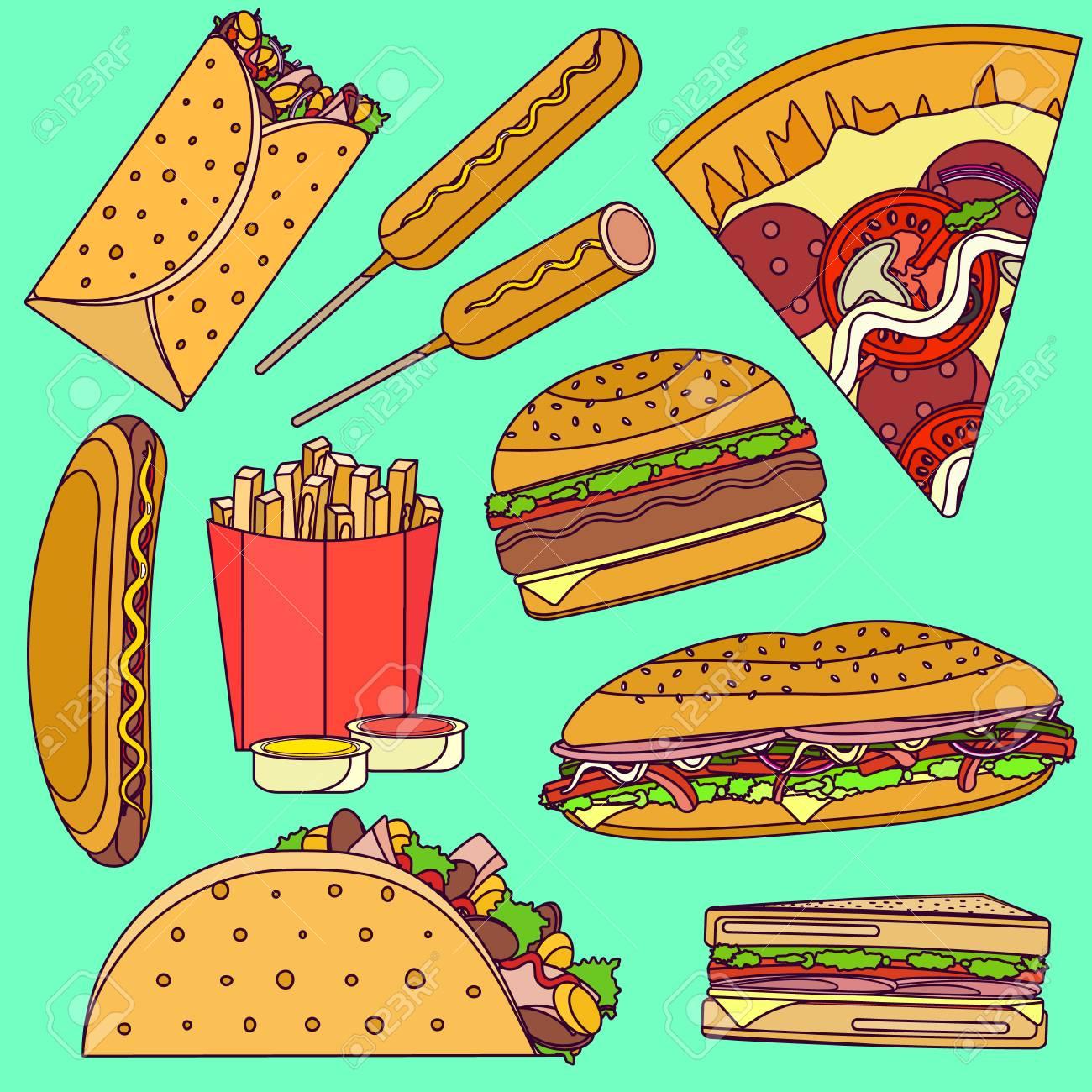 Flat Bright Pop Art Vector Fast Food Icons Set Including Burrito