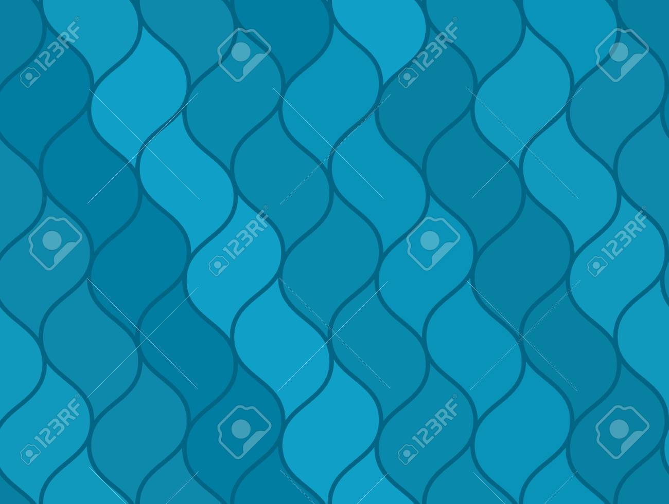 Abstract Blue Wavy Sea Seamless Pattern Nice Marine Texture