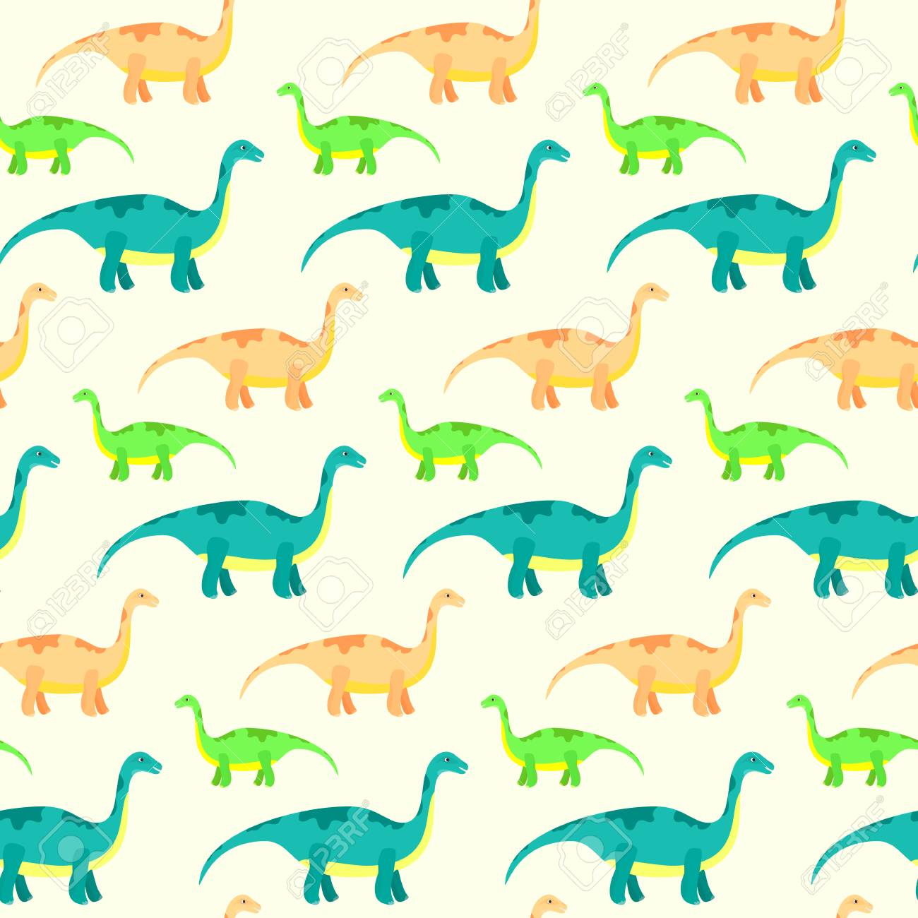 Vector Seamless Pattern With Cute Diplodocus Kids Texture With
