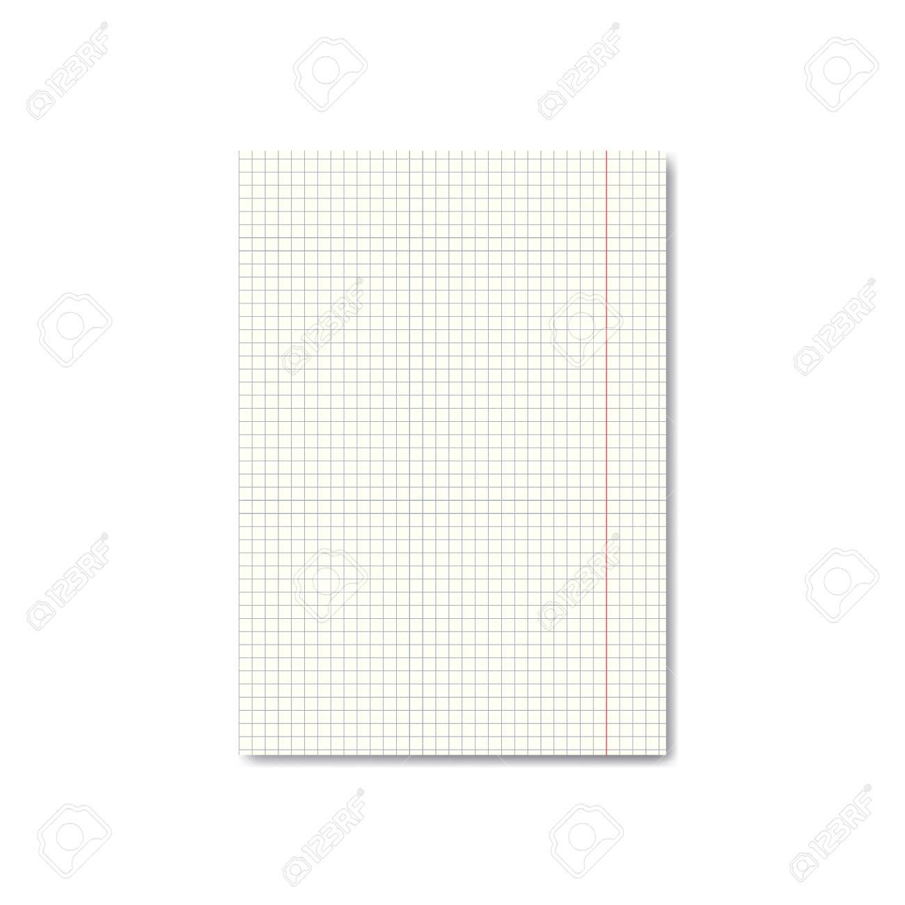 Vector Realistische Quadrille Oder Millimeterpapierblatt Mit Rändern ...