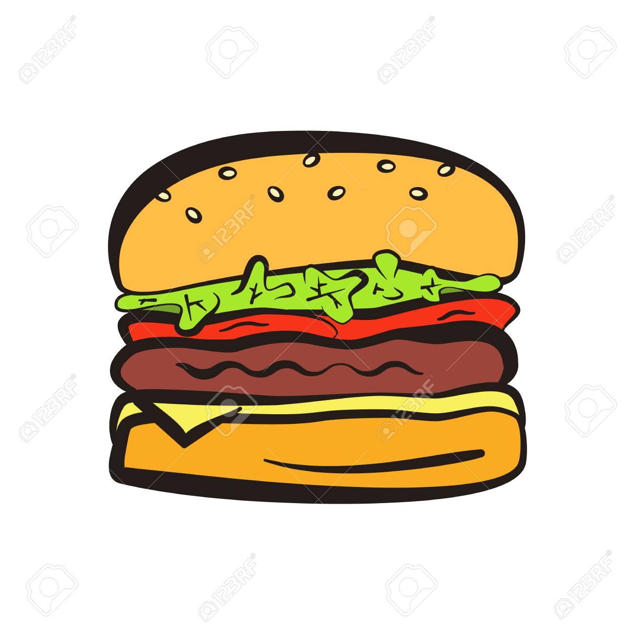 Symbole De Hamburger Colore De Dessin Anime Avec Contour Noir Icone De Burger Lineaire Plat Comique Pour Restaurant De Restauration Rapide Ou Un Menu Cafe Publicite Bannieres Clip Art Libres De Droits