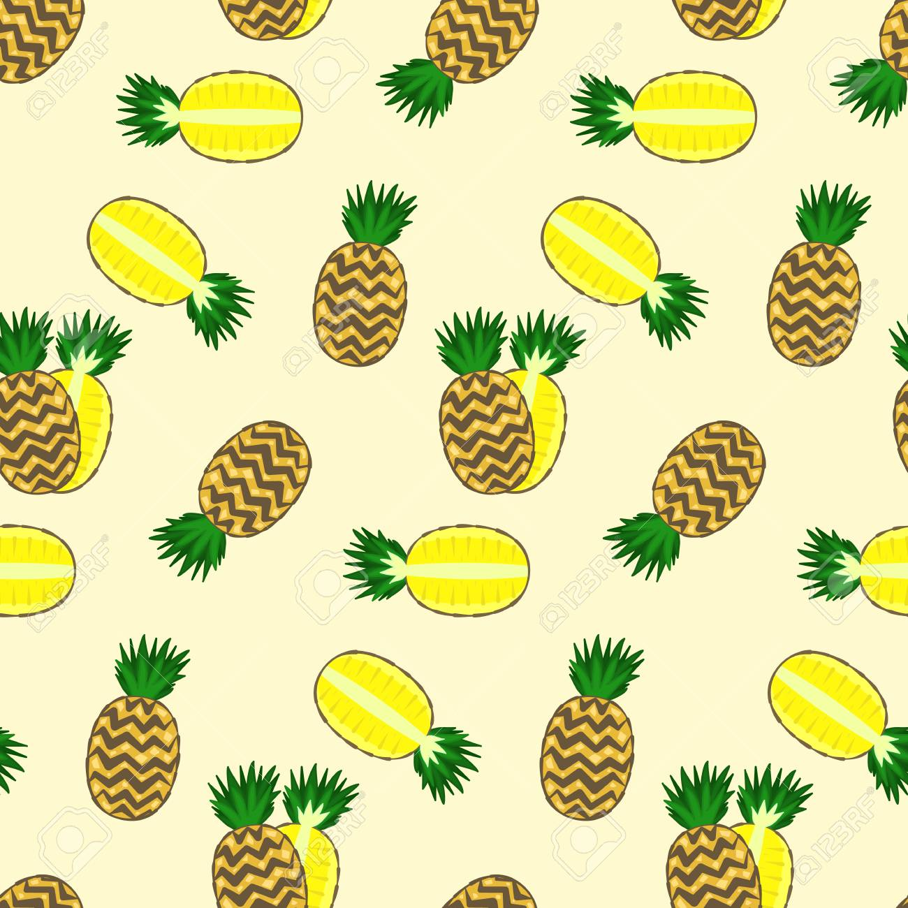 Bright Colorful Cartoon Full And Half Pineapple Seamless Pattern Nice Vector Summer Exotic Fruits Texture