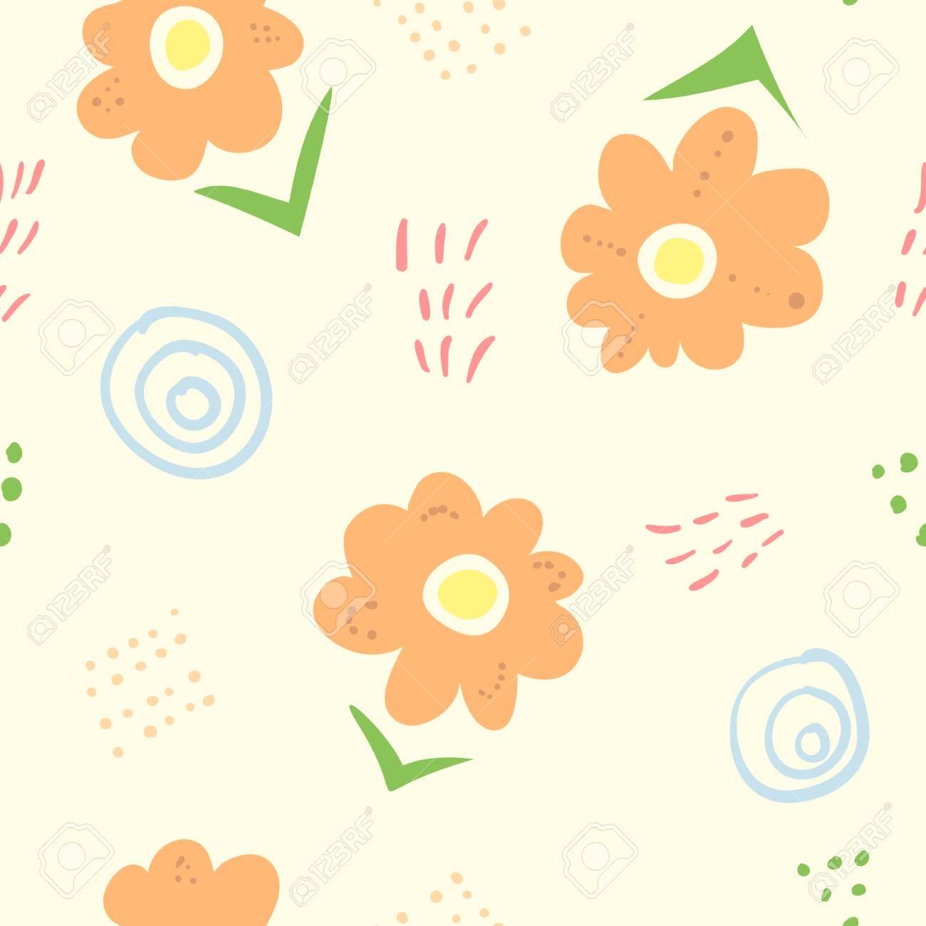 かわいいシンプルな子供たちは花のシームレスなパターンを落書き 子供の織物 包装紙 バナー カバー 表面 壁紙 背景のためのオレンジ色の花 ラインやしみと素敵なナイーブなテクスチャ のイラスト素材 ベクタ Image