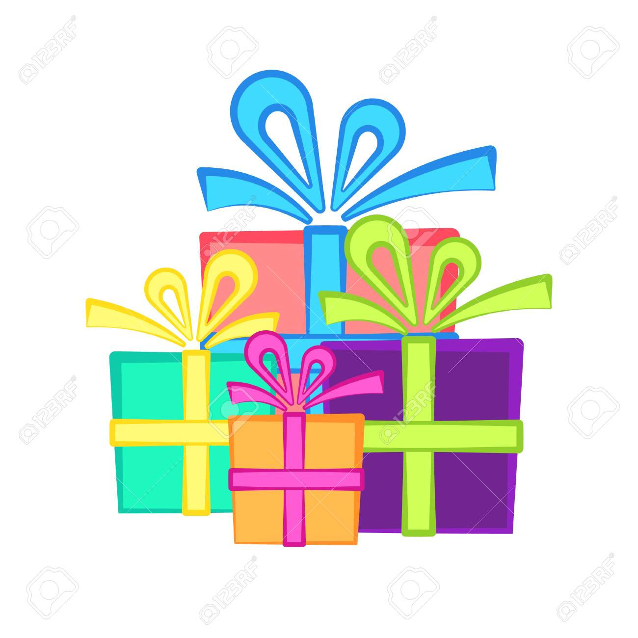 Cute Present Symbol With Bright Flat Gift Boxes Nice Birthday