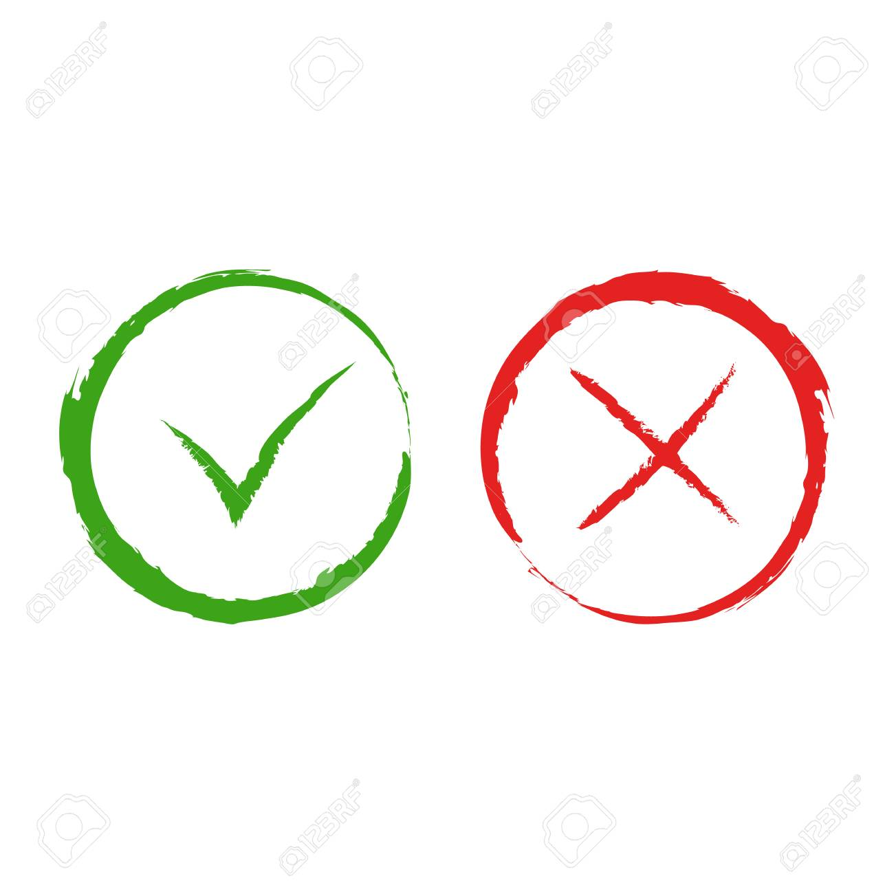 green for yes and red for no check mark symbols simple tick