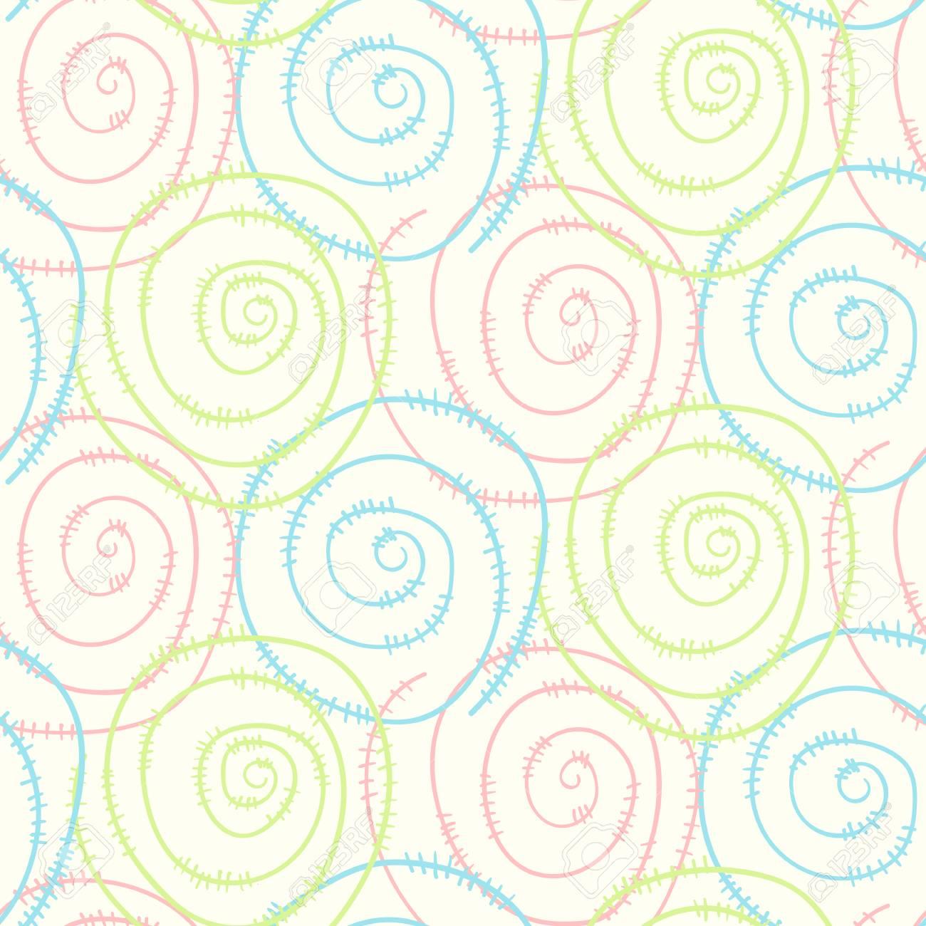 Pastel Light Kids Seamless Pattern With Hand Drawn Round Swirl ...