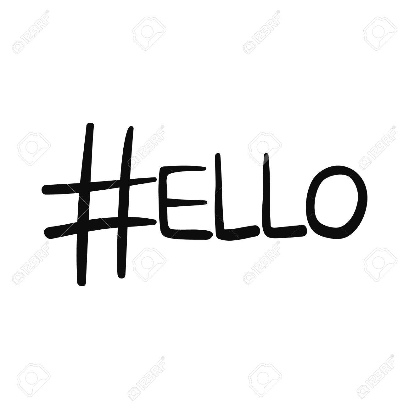 Black Doodle Hashtag Sign As Letter H In Word Hello Sketch Outline Hash Symbol And