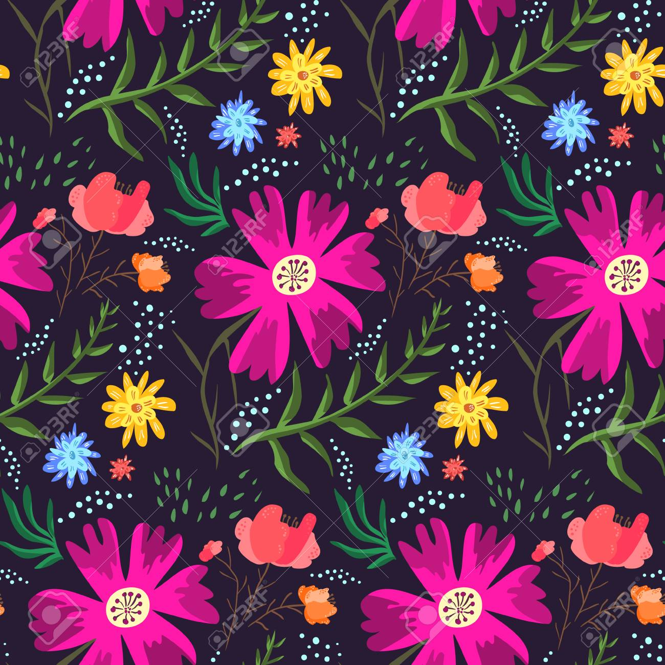 Contrast floral summer seamless pattern of rich colors. Bright cartoon hand drawn texture with pink, blue and orange flowers, leaves, waterdrops for textile, wrapping paper, print design, surface - 99909168