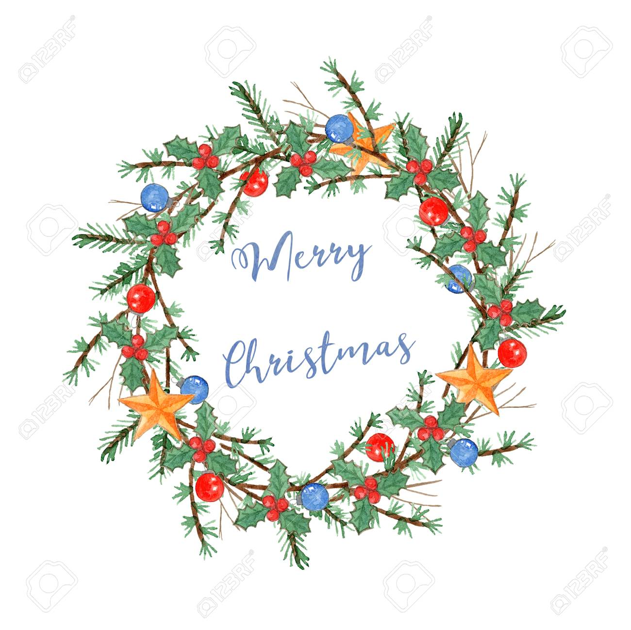 Cute Watercolor Christmas Wreath With Branches Balls Stars Stock