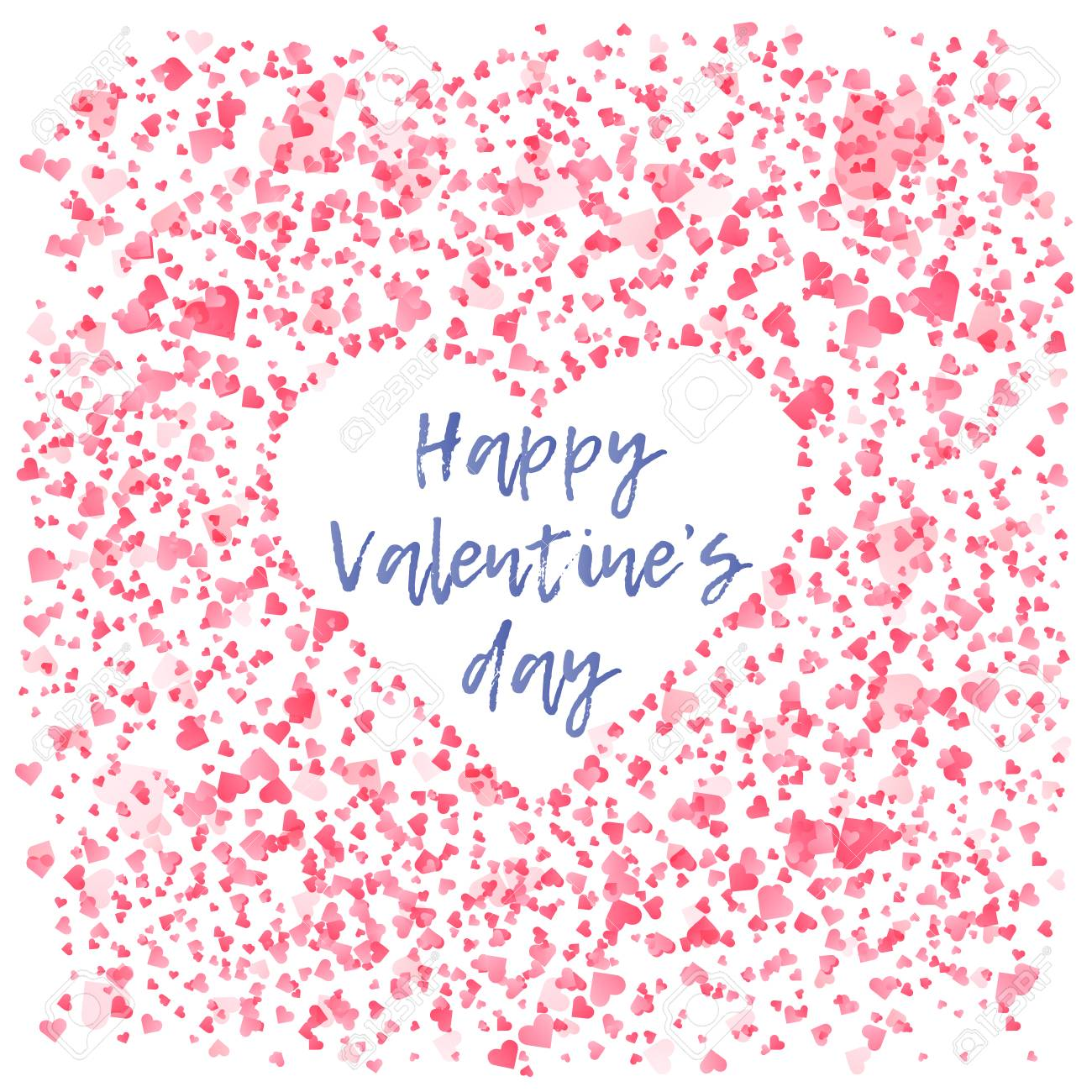 Tender Pink Hearts Background With Negative Space White Heart