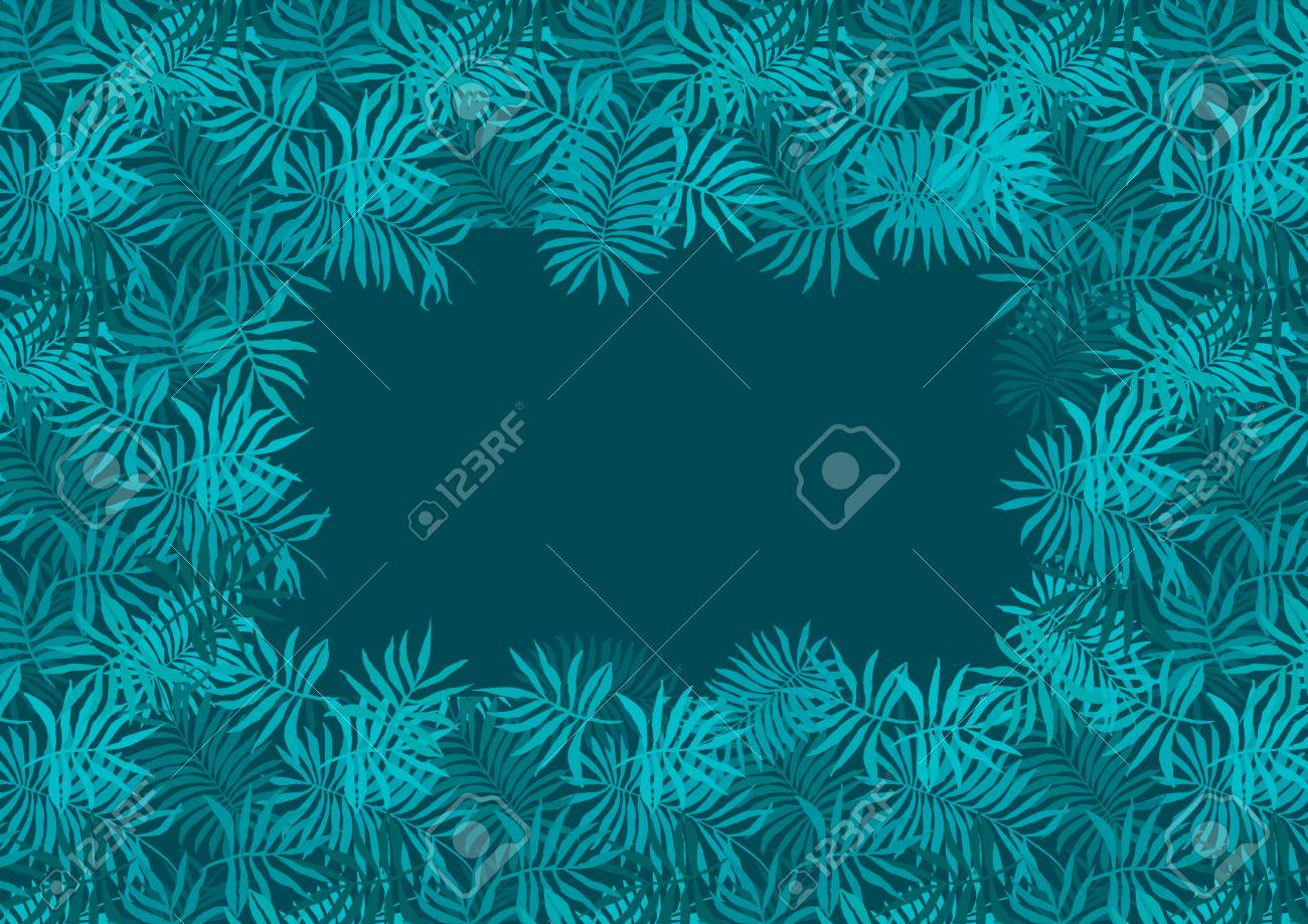 Deep Emerald Green Frame Of Fern Tropical Leaves With Dark Blue