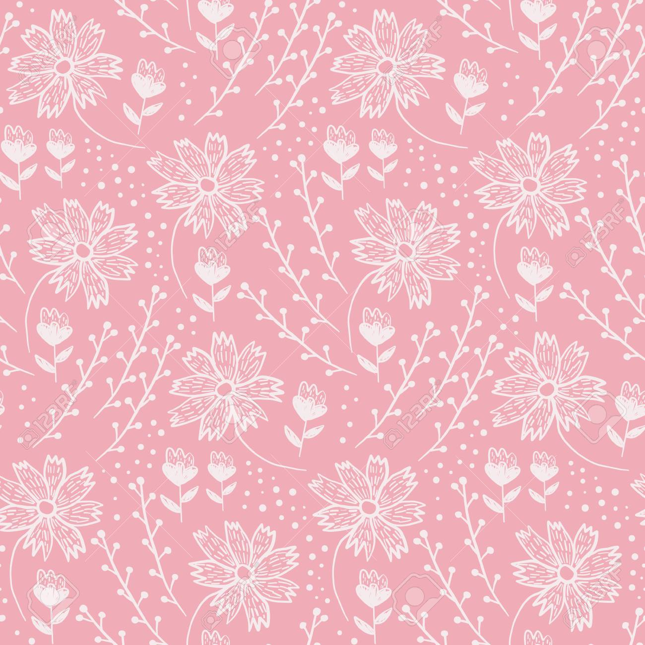Trendy Coral Floral Seamless Pattern With White Flowers And Leaves