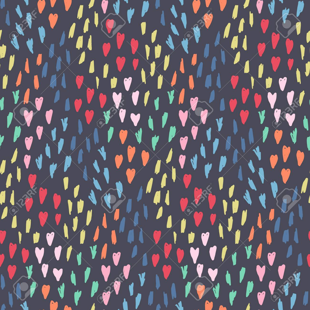 Cute Seamless Pattern With Mess Of Pink Hearts Blue And Yellow