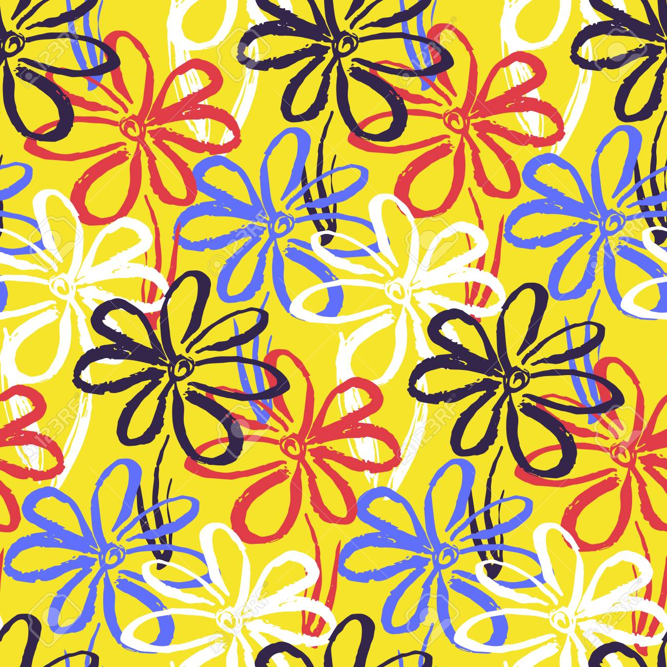 Bright Yellow Seamless Pattern With Contrast Colorful Hand Drawn