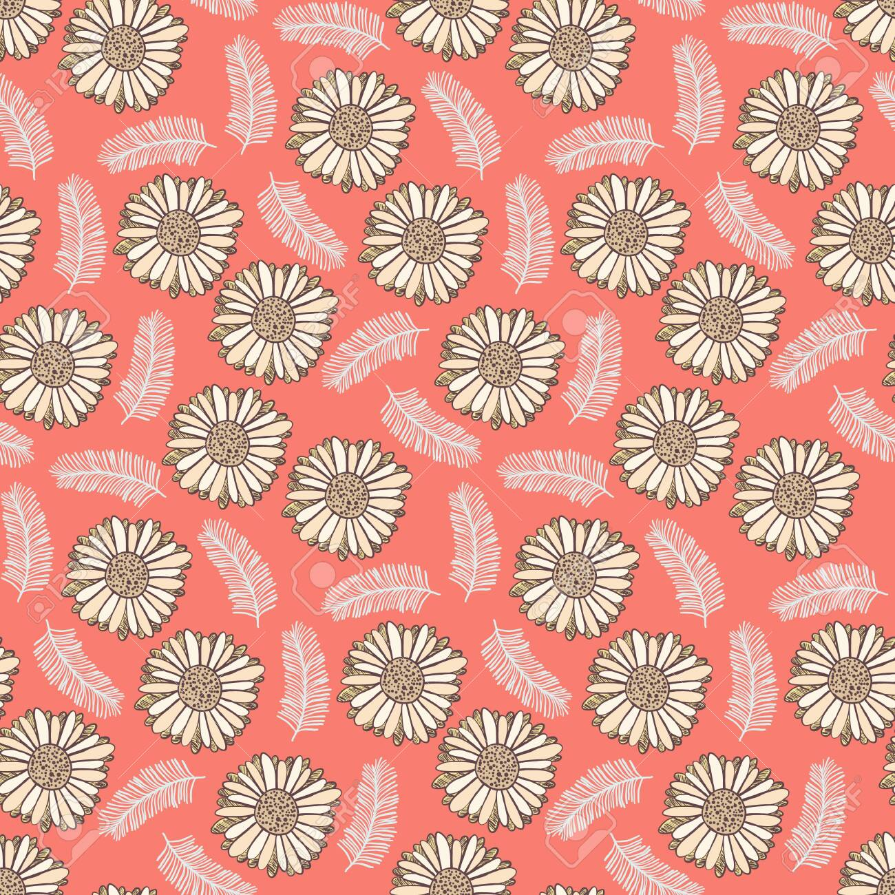 Cute Coral Floral Seamless Pattern With Light Yellow Flowers