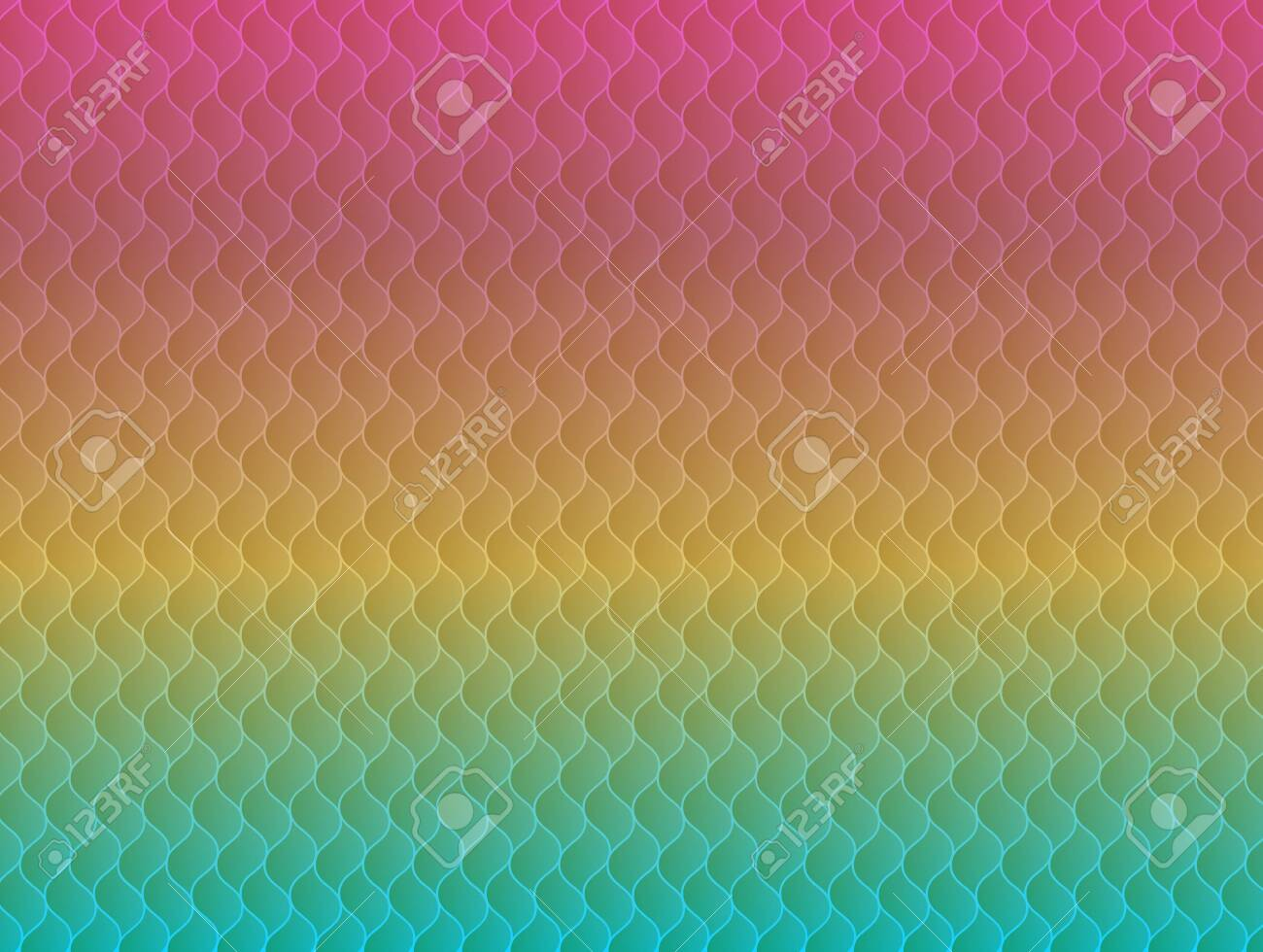 Abstract rainbow seamless pattern with colorful geometric wavy elements. Modern vibrant pride colors texture for background, wallpaper, landing design, presentations - 135539367