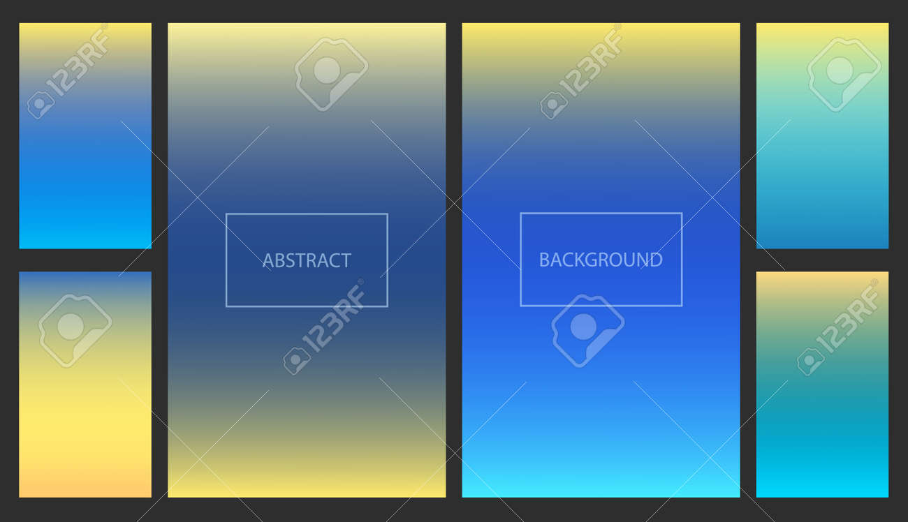 Bright blue and yellow gradients for smartphone screen backgrounds. Set of soft deep nature sky color vibrant wallpaper for mobile apps, ui design, banner - 157991493