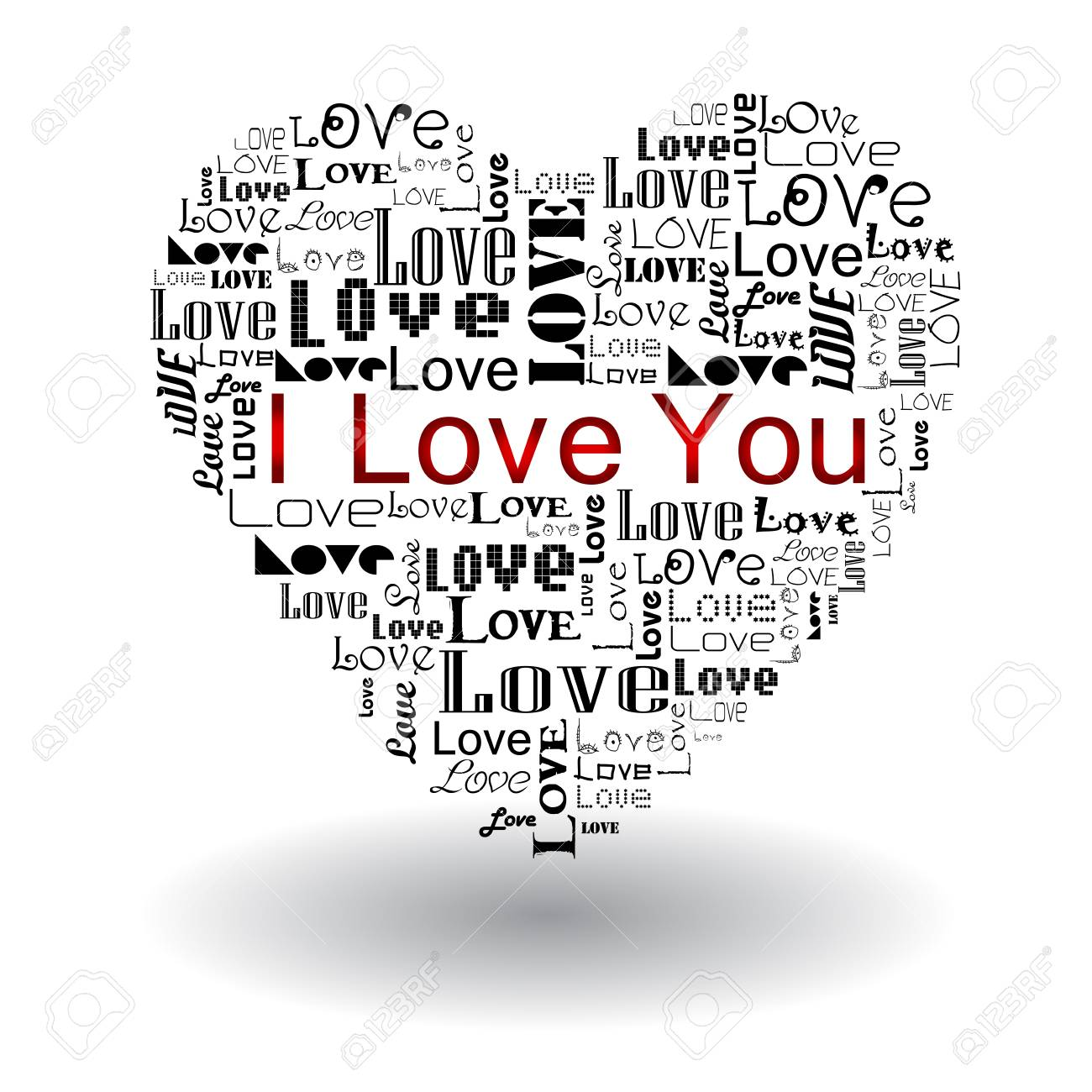 Vector valentine s day-Love text in heart Stock Vector - 17684343