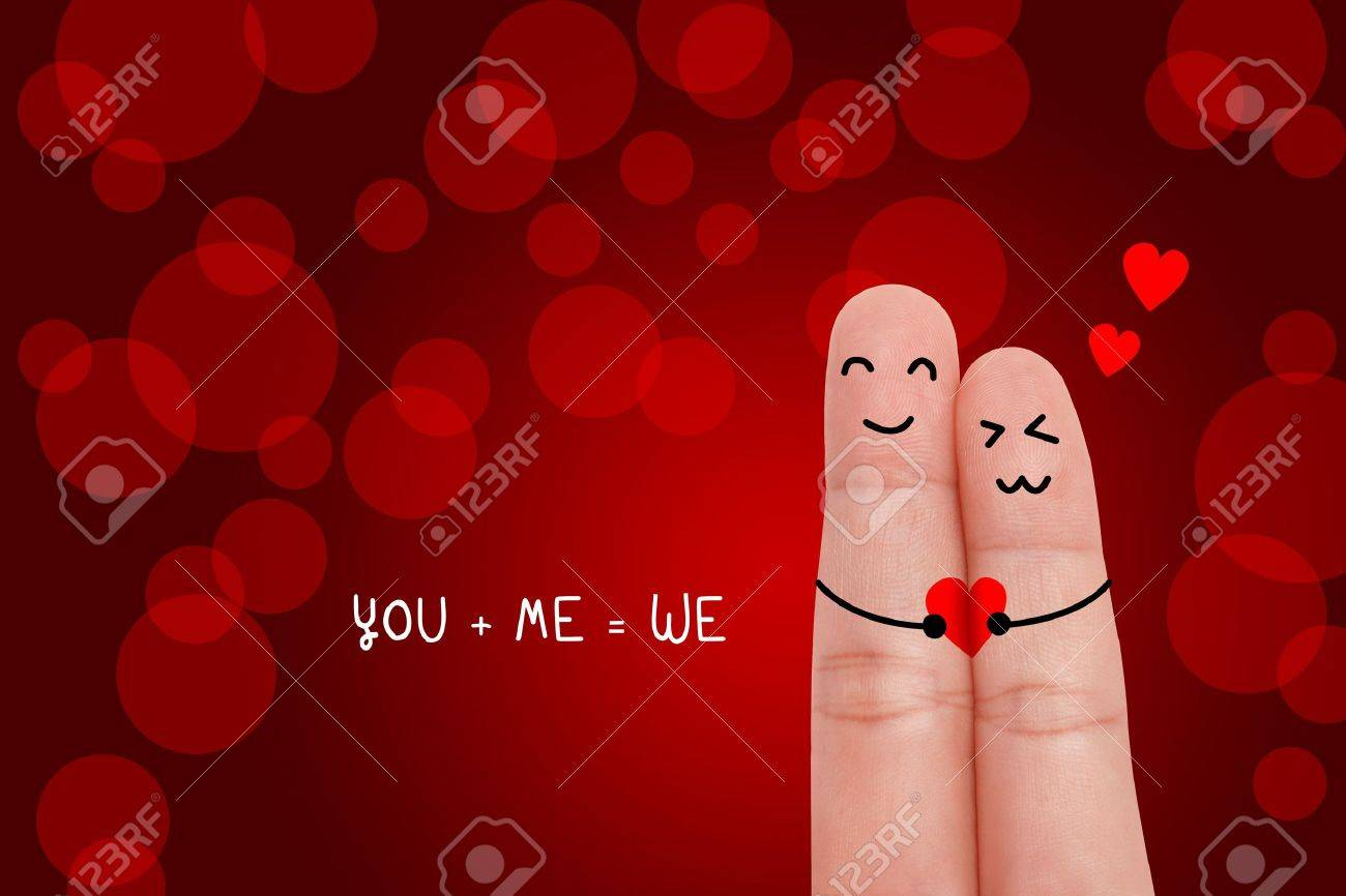 Valentine s day concept  Happy fingers in love Stock Photo - 17930029
