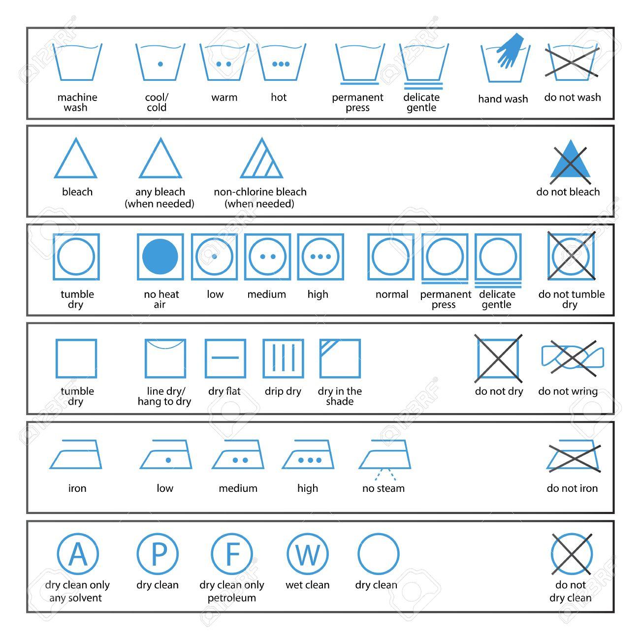 Souvent Jeu D'icônes De Signes à Laver Et Textiles Symboles étiquette D  VT42