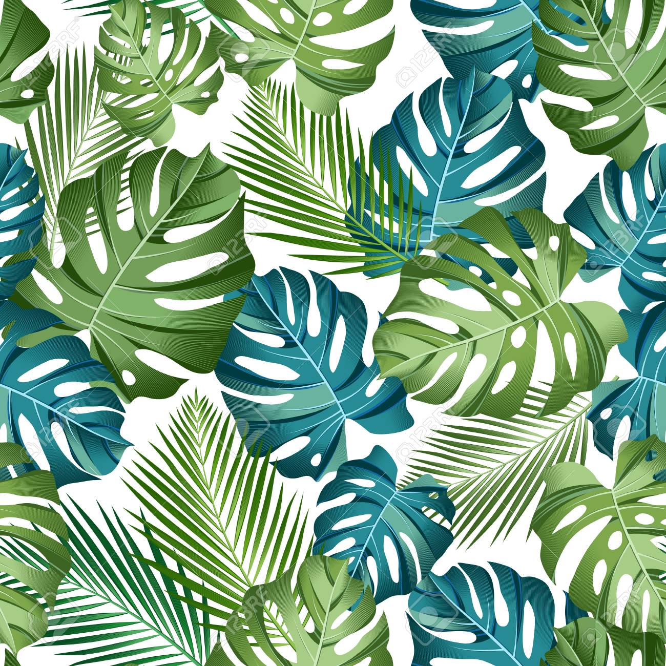 Seamless pattern with tropical leaves: palms, monstera, jungle leaf seamless vector pattern dark background. Swimwear botanical design. Vector. - Vector - 125127887