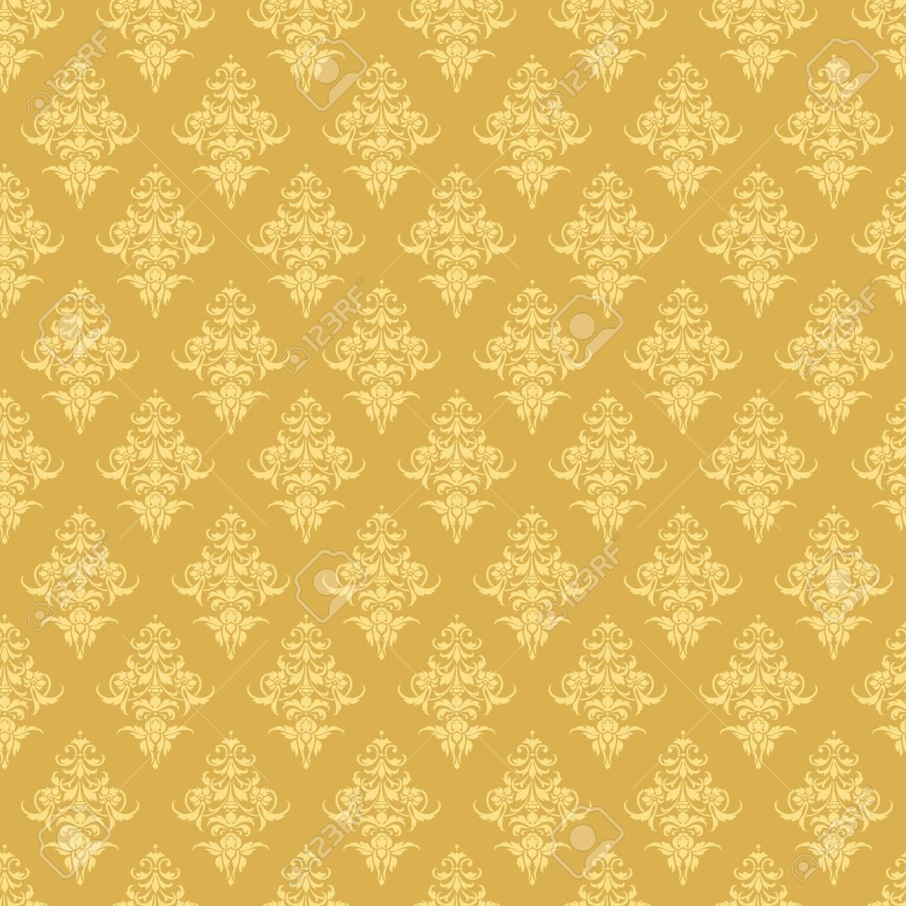 Luxury Seamless Golden Floral Wallpaper Vector Pattern For Design