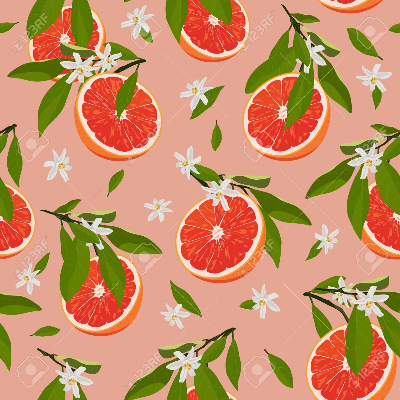 Orange fruits slice seamless pattern with flowers and leaves on rose pink background. Grapefruit citrus fruit vector illustration. - 128279513