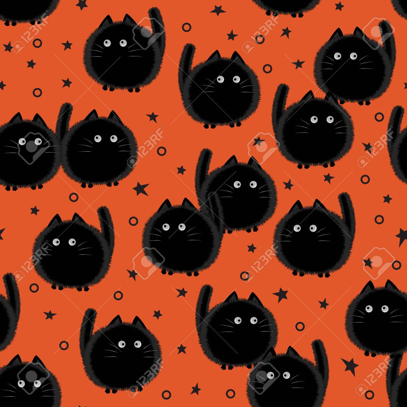 Halloween spooky cats seamless pattern on orange background