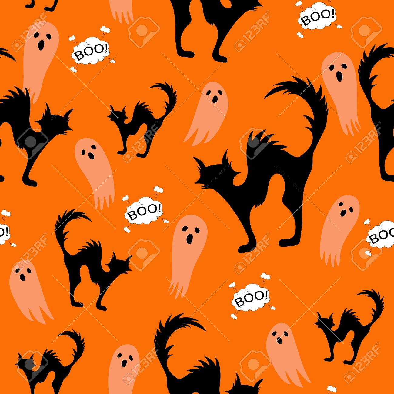 Halloween spooky cats and ghost seamless pattern on orange background..