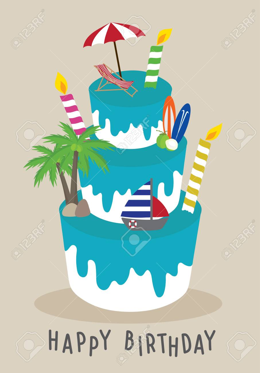 Astonishing Vector Cake Happy Birthday For Traveler Concept Summer On The Personalised Birthday Cards Bromeletsinfo