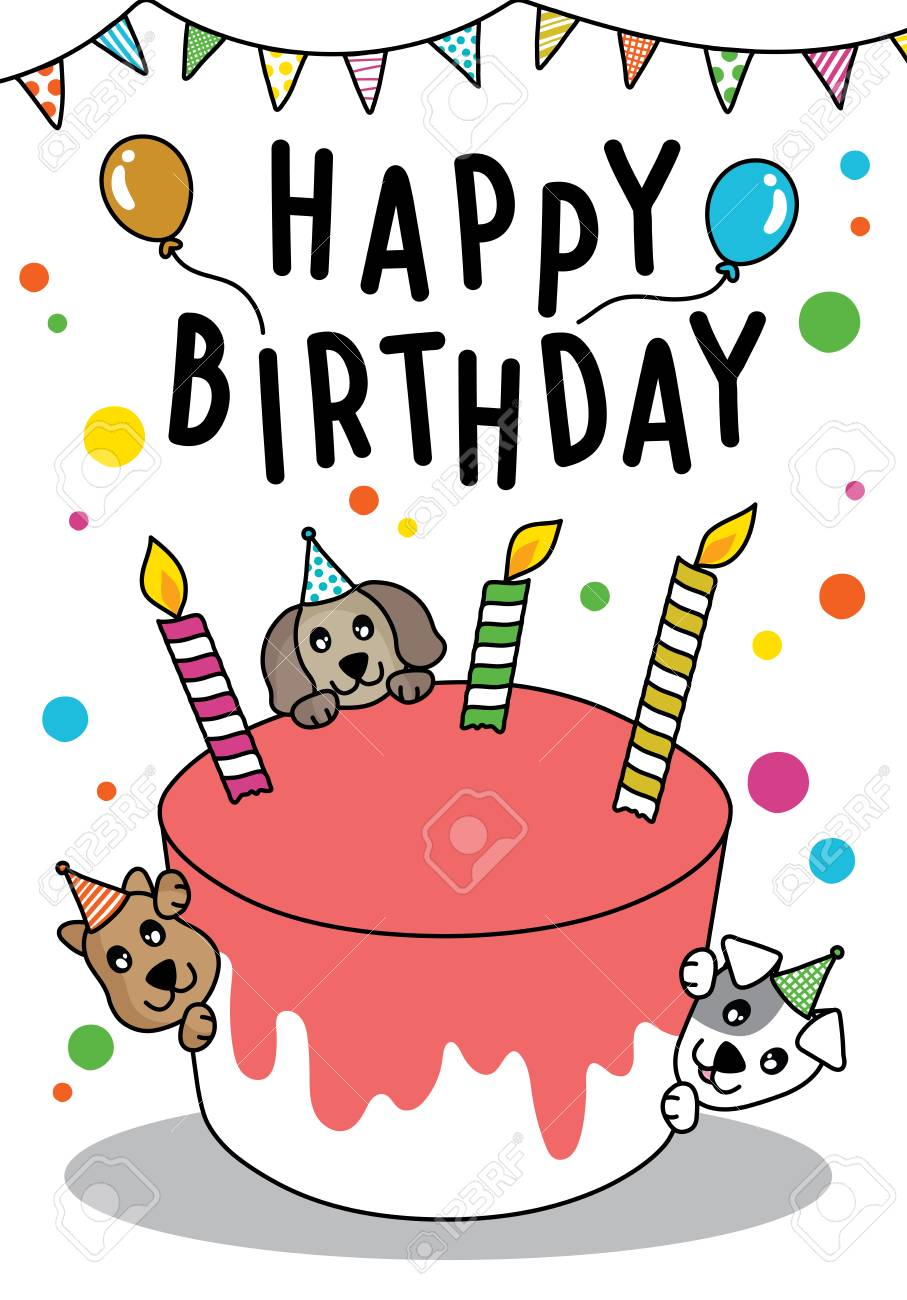 Astonishing Vector Doodle Cute Cat And Dog With Cake For Happy Birthday Card Funny Birthday Cards Online Alyptdamsfinfo