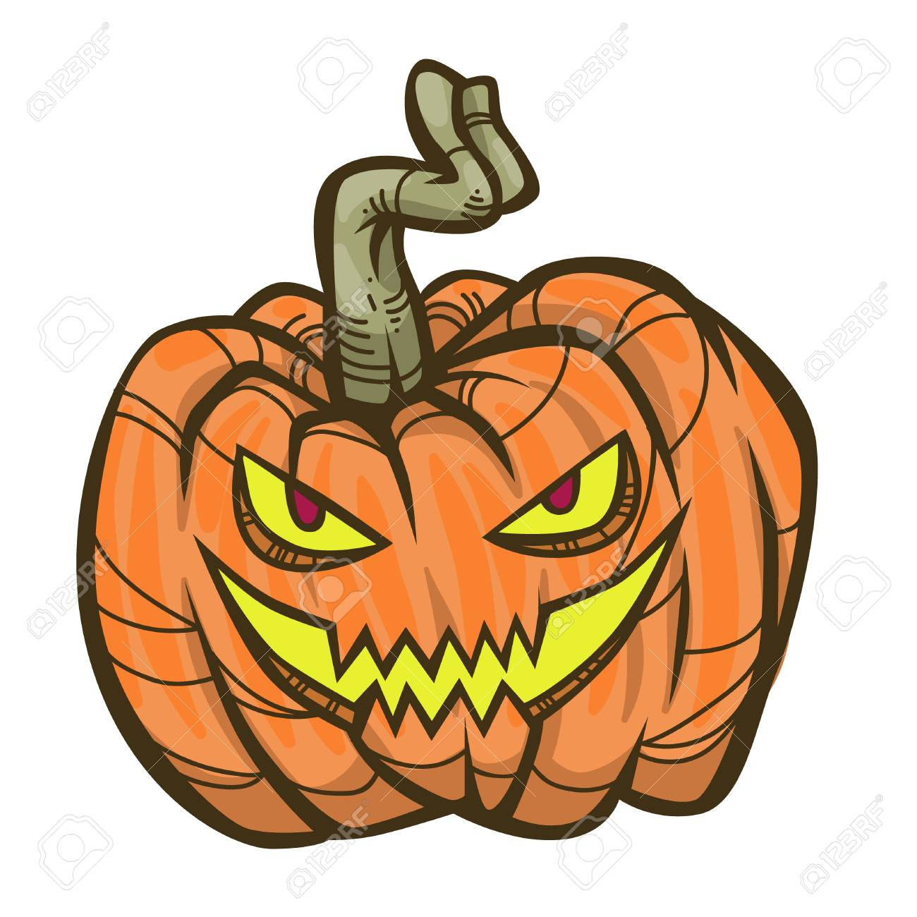 Scary Halloween cartoon pumpkin on white background. Vector illustration..