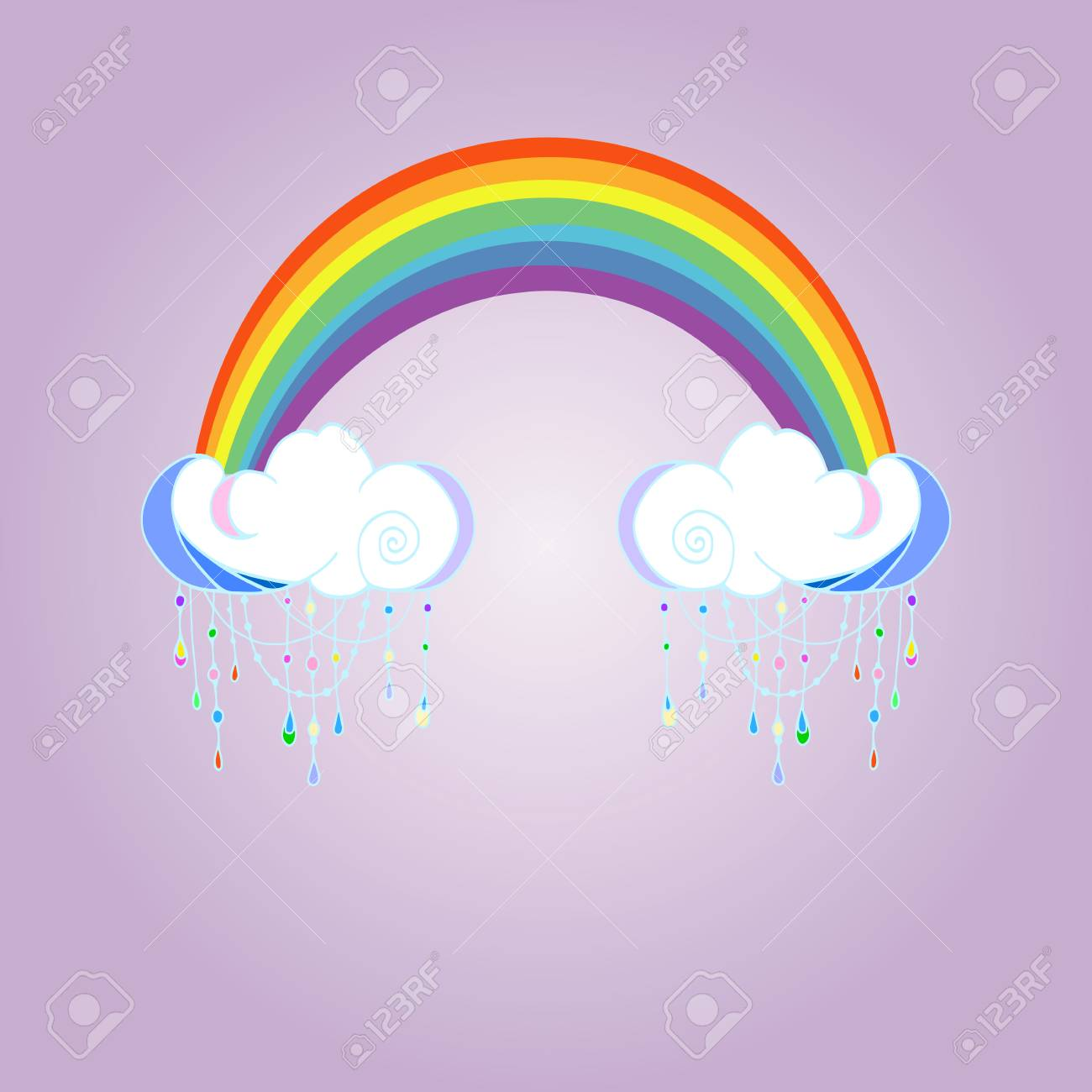 Rainbow and raining clouds on color background  Cute cloud poster